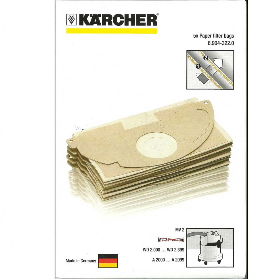 мешки для пылесоса Karcher Wd 2 200 Mv 2 арт 6 904 322